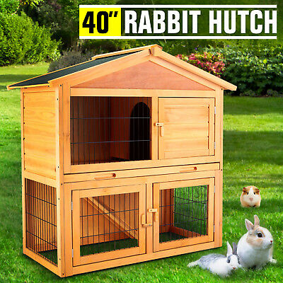 "40"" Wooden Rabbit Hutch Chicken Coop Cage Hen House Pet Poultry Animal Backyard"