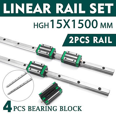 15-1500mm 2x Linear Guideway Rail 4x Square Type Block For 15mm Block Cnc Set