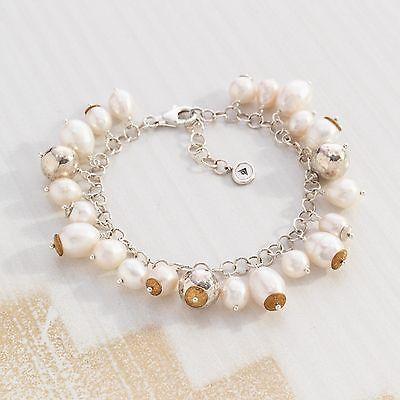 Silpada Flirt Alert Sterling Silver Pearl Charm Bracelet Cha Cha Style B3328 NWT