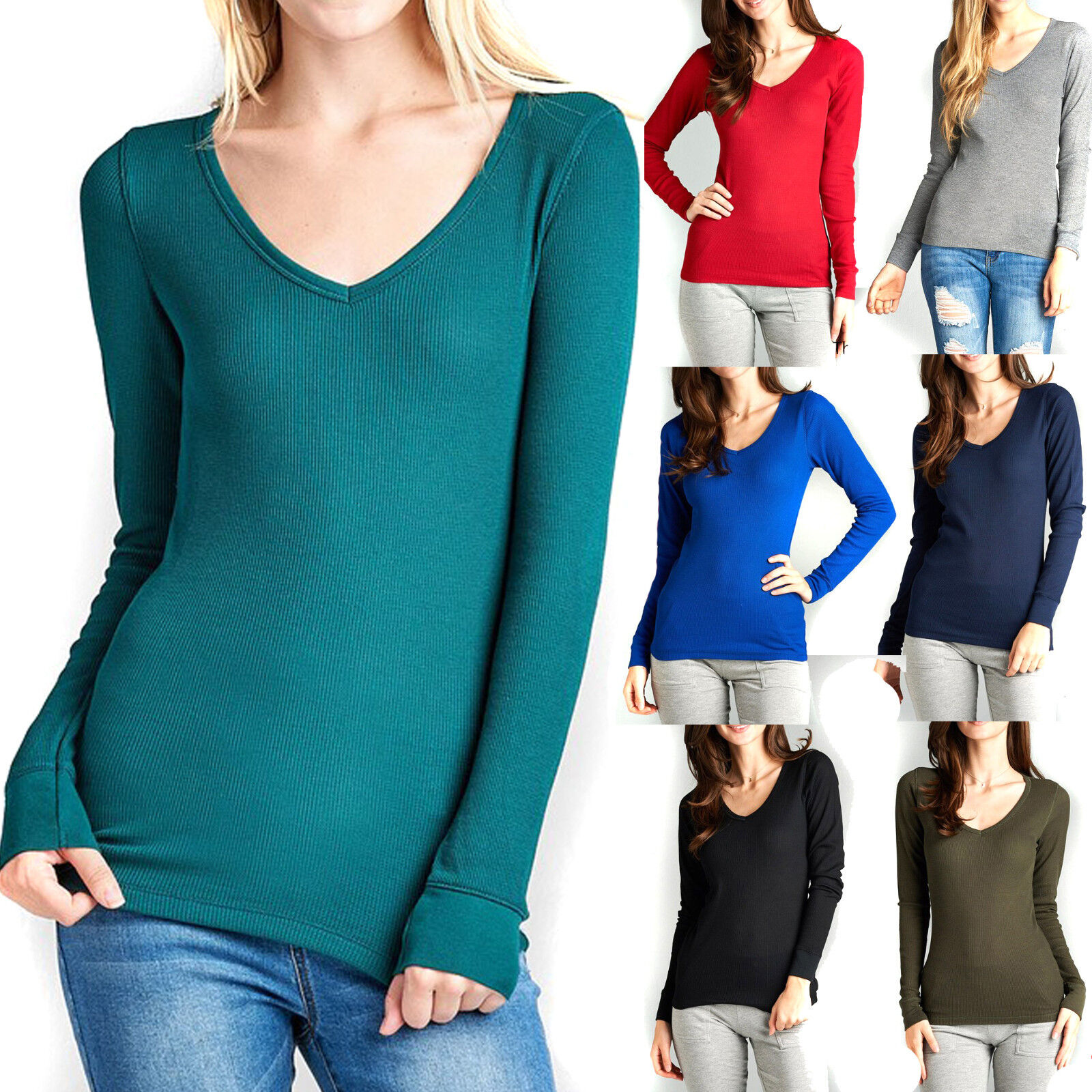 как выглядит Женский вязаный топ Thermal V-NECK NECK Long Sleeve Basic Top Womens T-Shirt Plain Soft Waffle knit фото