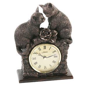 Juliana Figurine Table Clock Bronze Effect 2 Cats Kittens Home Decor 21cm