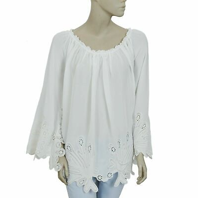 Hotel Particulier Eyelet Embroidered Wide Sleeve Tunic Top Peasant M New 195247