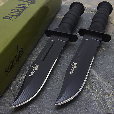 """2 x 7.5"""" MILITARY TACTICAL COMBAT KNIFE w/ SHEATH Survival HUNTING Bowie Blade"""