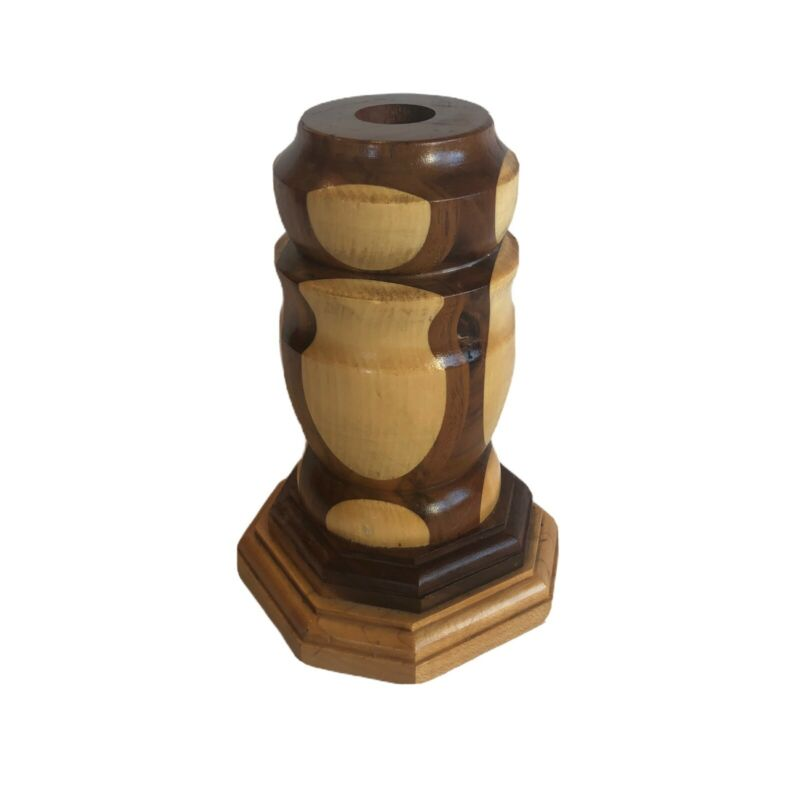 """Vintage Handcrafted Hand Made Solid Wood Candle Holder Signed By """"Grandpa"""""""