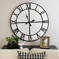 Modern Farmhouse Wall Clock Wooden Upsized Home Hanging Decorative Large Display