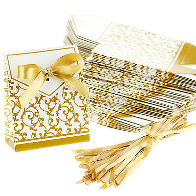 100 Gold Wedding Favour Favor Sweet Cake Gift Candy Boxes Bags Anniversary Party - Cake Favor Boxes