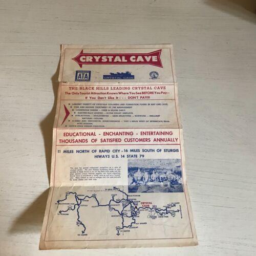 CRYSTAL CAVE..BLACK HILLS Fold-Out Pamphlet (1958) Map & Calendar of Events