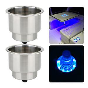 2pcs 12V Blue LED Stainless Steel Cup Drink Holder for Marine Boat Car Truck RV
