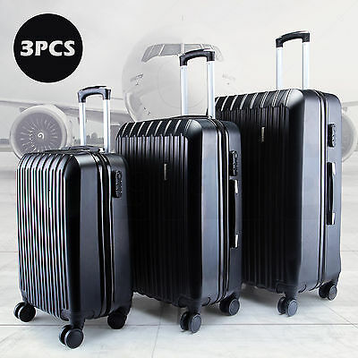 New 3Pcs Luggage Travel Set Bag ABS Trolley Spinner Suitcase W/TSA Lock Black