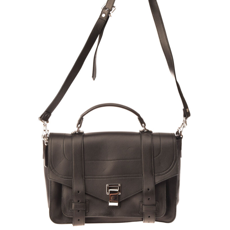 RRP€1720 PROENZA SCHOULER Leather Flap Satchel Bag HANDCRAFTED Made in Italy