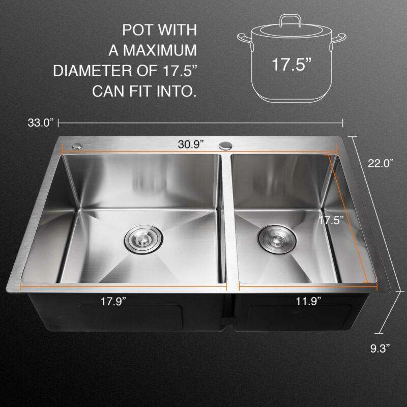 """33"""" x 9"""" Stainless Top Kitchen Sink w/ Tray Set 14G"""