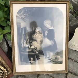 Antique framed print two children with bunny