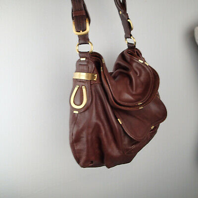 B. MAKOWSKY  Brown Leather  Shoulder Hobo Bag Handbag purse gold tone logo a3