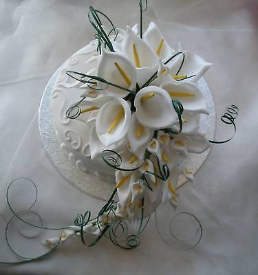 Large Cake Topper Shower Bouquet White Calla Lily Wedding Flowers Calla Lily Bouquet Cake