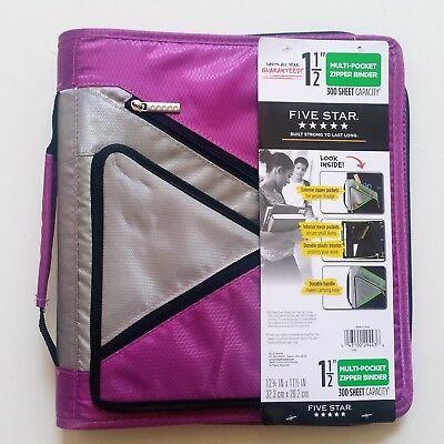 Five Star Multi Pocket 1-12 Zipper Binder 300 Sheet Capacity Colors Vary New
