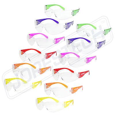 12 Pair Jorestech Clear Uv400 Lens Lot Safety Glasses Bulk New Multi Color