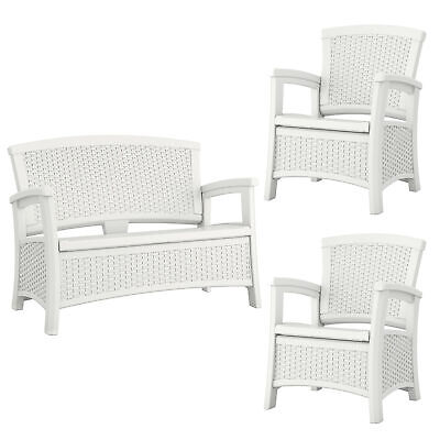 Suncast Elements Resin Wicker Design Loveseat with Storage + Club Chairs (Pair) ()