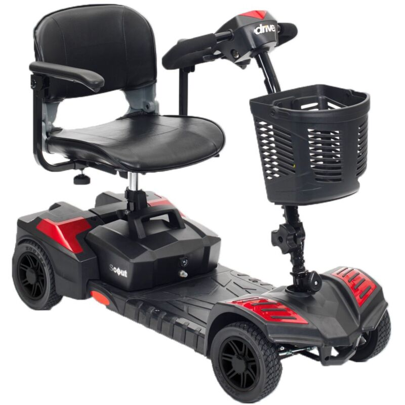Larger Battery, Drive Scout 4 Wheel Mobility Scooter, Lightweight, Red & Blue