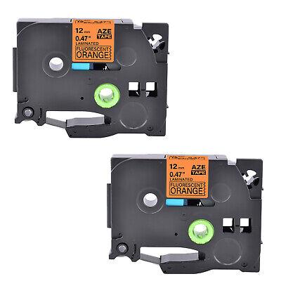 2pk Fits Brother P-touch Pt-h100 Tz Tze-b31 Fluo Orange Label Tape 0.47
