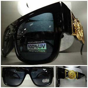 CLASSIC VINTAGE GANGSTER HIP HOP RAPPER SUNGLASSES Black & Gold Frame Dark Lens