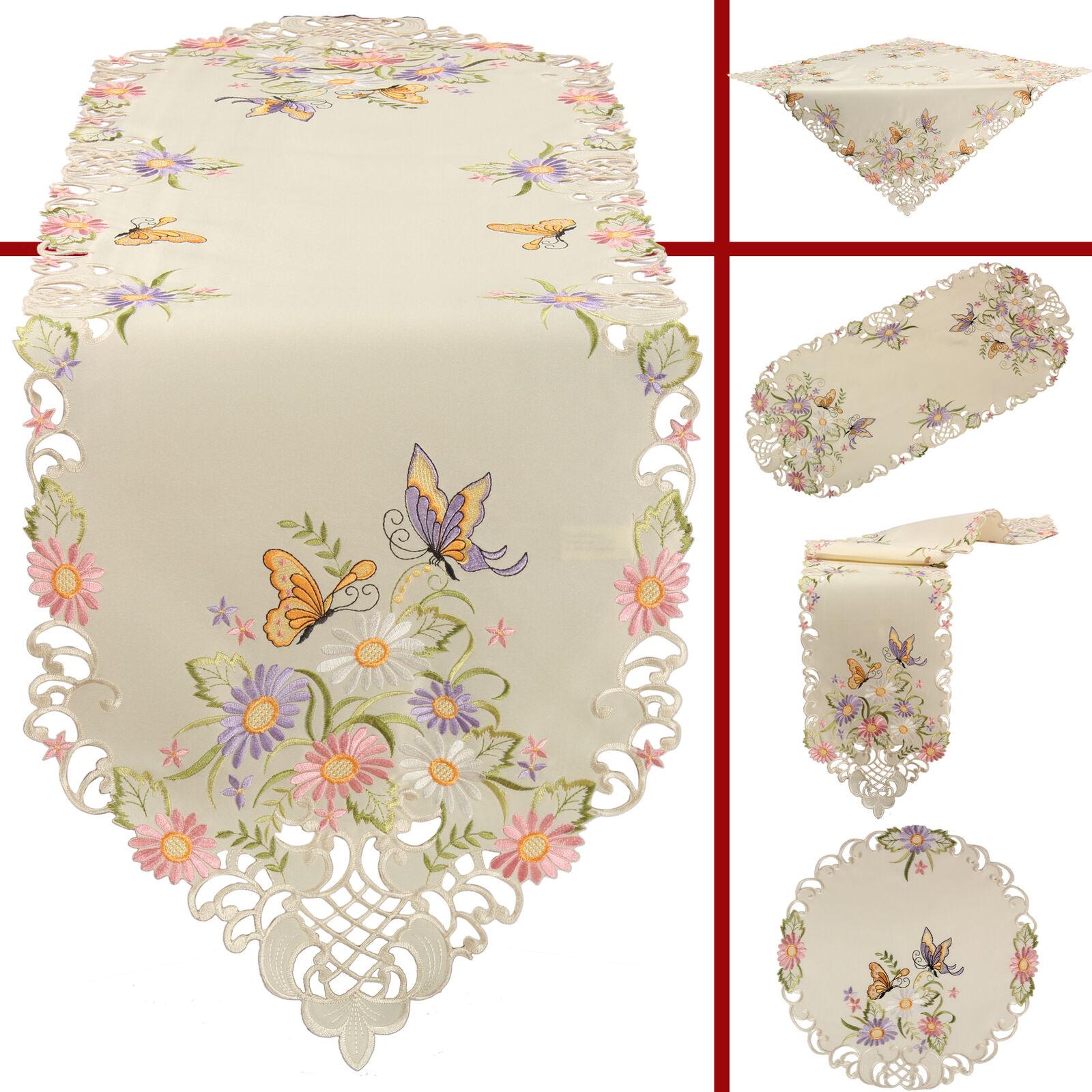 Schmetterling Tischläufer Mitteldecke Tischdecke Set Ecru bunte Blumen Stickerei