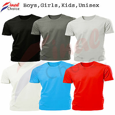 Boys Kids Girls Unisex Plain Blank Tee T-Shirt Tshirts School Uniform PE Top Gym