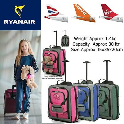 Children's Boys Girls Kids Hand Cabin Luggage Trolley Bag Suitcase Set Wheels