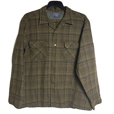 1970s Men's Shirt Styles – Vintage 70s Shirts for Guys VINTAGE PENDLETON 1960s 1970s XL Green Plaid 100% Wool Flannel Button Down $74.48 AT vintagedancer.com