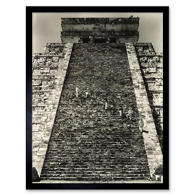 Vintage Landscape Chichen Itza Temple Steps Mexico Maya 12X16 Inch Framed Print Chichen Itza Mexico Framed