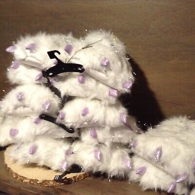 SECRET TREASURES WOMENS FUN MONSTER SLIPPERS WHIE FAUX FUR AND PURPLE TOENAILS