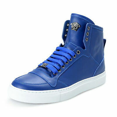 Versace Men's Blue Leather Medusa Hi Top Fashion Sneakers Shoes Sz US 9 IT 42