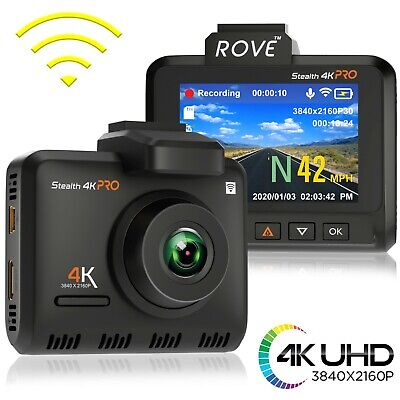 Rove Stealth 4K PRO Dash Cam - 4K Ultra HD - Built-In WiFi & GPS, Parking Mode