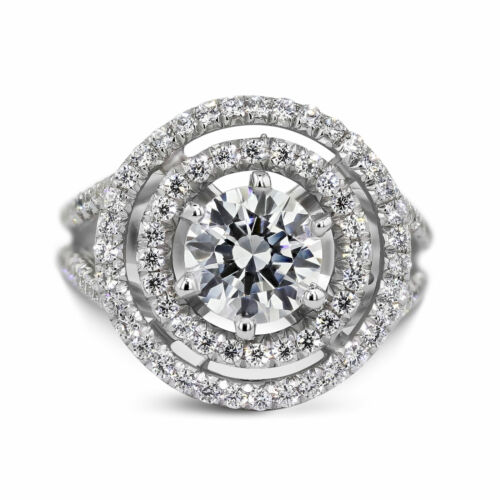 1.36 Carat Round Cut E - VS1 Halo Diamond GIA Engagement Ring sizeable