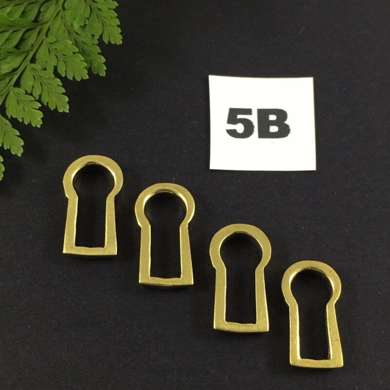4 x Brass Key Escutcheon Antique Furniture Restoration Keyhole Insert Size 5B