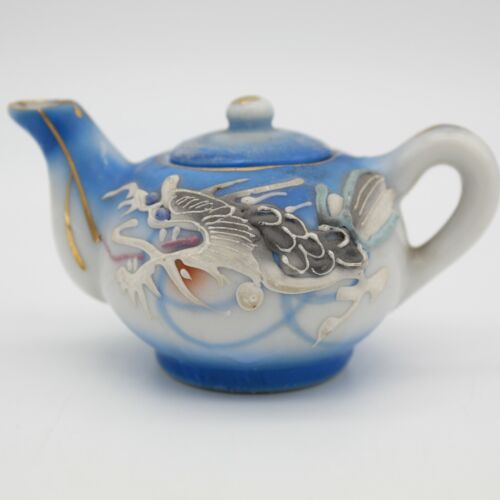 Vintage Blue and White Moriage Dragonware Teapot Quality Imports Japan Blue Eyes
