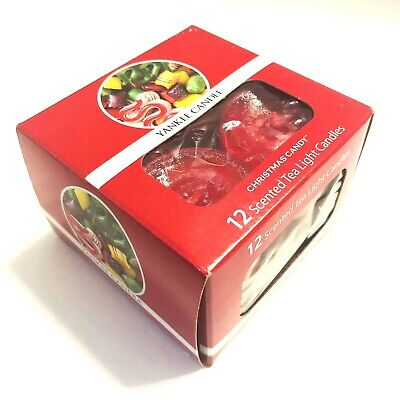 New Yankee Candle rare Christmas Candy Box Set Of 12 Tea Light Candles