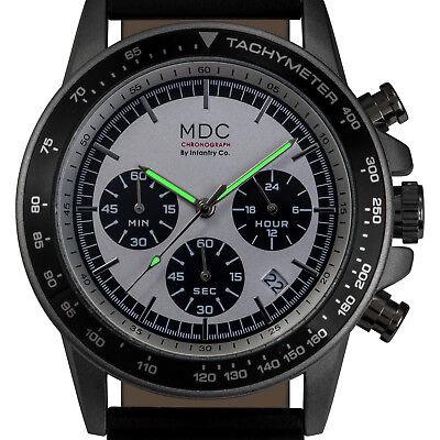 MDC Mens Quartz Wrist Watch Chronograph 24-Hour Dial Sport Black Leather Outdoor