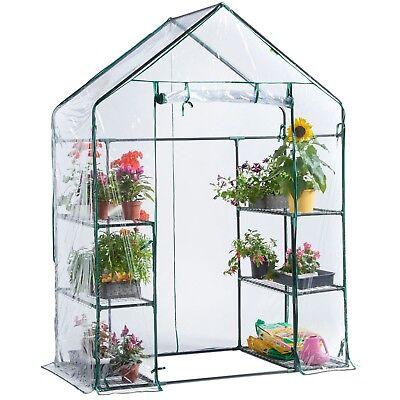 VonHaus Walk In Greenhouse PVC Plastic Garden Grow Green House with 6 Shelves