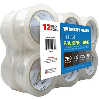 Clear Packing Tape Refill Rolls for Shipping, Packaging-2 inchx65 Yards,12 Rolls