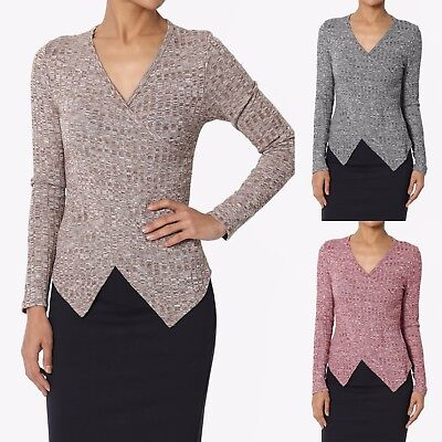 TheMogan Wrap Front V Neck Long Sleeve Marled Rib Knit Sweater Pullover Top
