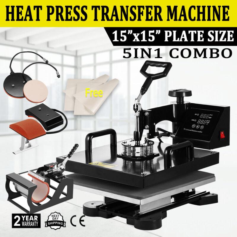 "5IN1 15""x15"" T-Shirt Heat Press Transfer Machine Digital Swing Away Mug Plate"