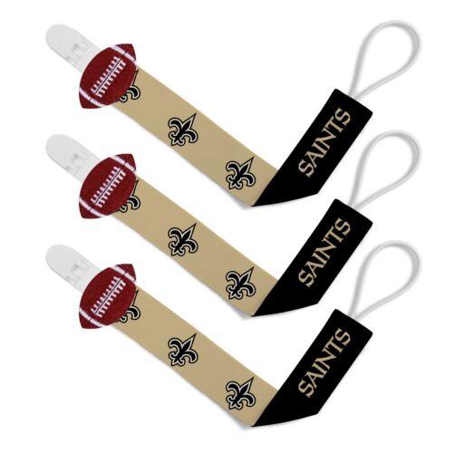 New Orleans Saints 3pc Premium Pacifier Paci Clip Set Infant Baby Unisex NWT NFL