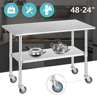 24 X 48 Stainless Steel Work Prep Table W Moving Wheels Kitchen Restaurant