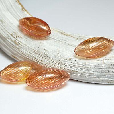 28mm Perle (Glassperle Orange Oval 13 x 28 mm, 2 Stück #1700 BACATUS Glassperlen)