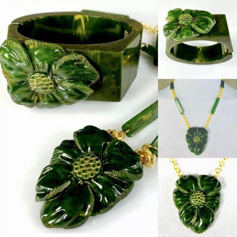 Carved Green Bakelite Flower Set -  Wide Hinged Clamper Bracelet & Necklace