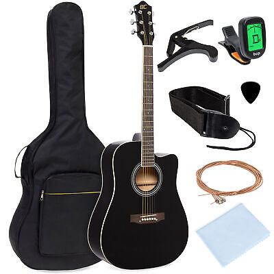 BCP 41in Full Size Beginner Acoustic Cutaway Guitar Set w/ Case, Capo, Tuner