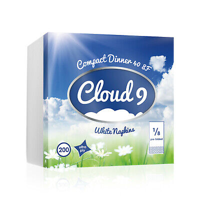 Cloud 9 UltraPly Luxury Compact Dinner 40cm White 8-Fold Paper Napkins UK - Cloud Paper