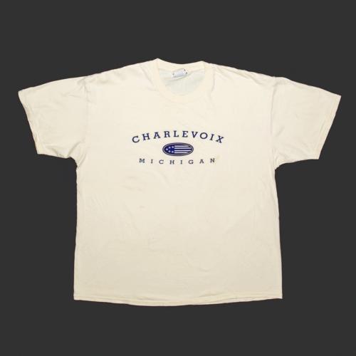 LEE Charlevoix Michigan Cream Regular USA Crew Neck Short Sleeve T-Shirt Mens XL