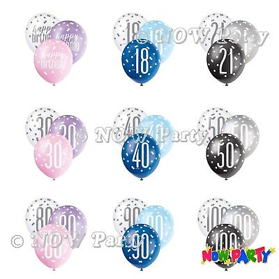 NEW Glitz 13th-100th Milestone Birthday Party Pearlised LATEX Balloons 12