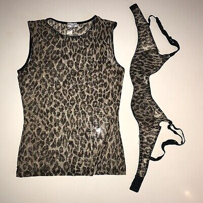 Dolce And Gabbana Top And Bra Leopard Print Mesh Intimo Y2k 90's
